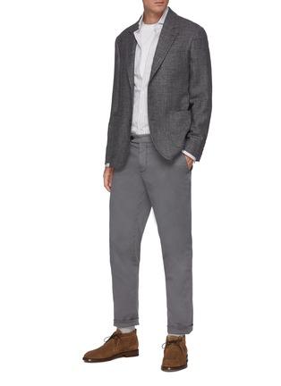 Figure View - Click To Enlarge - BRUNELLO CUCINELLI - Striped spread collar slim fit cotton shirt