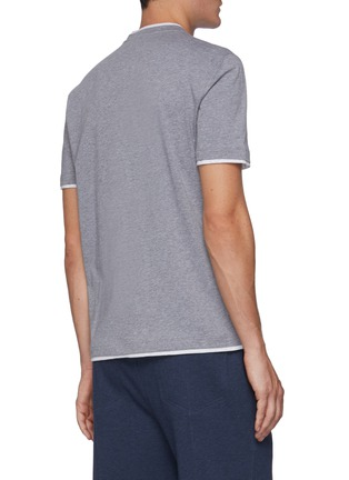 Back View - Click To Enlarge - BRUNELLO CUCINELLI - Logo embroidered cotton T-shirt