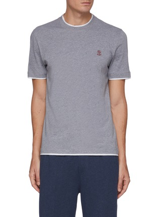Main View - Click To Enlarge - BRUNELLO CUCINELLI - Logo embroidered cotton T-shirt