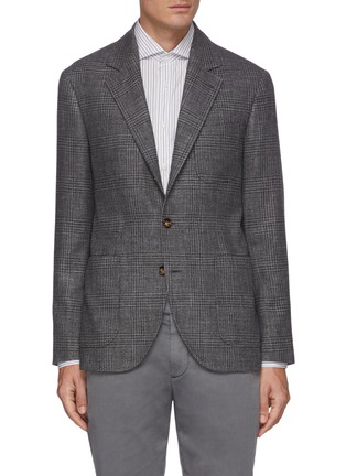 Main View - Click To Enlarge - BRUNELLO CUCINELLI - Pow check single breasted blazer