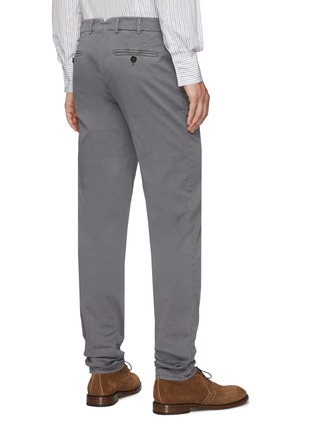 Back View - Click To Enlarge - BRUNELLO CUCINELLI - Slim fit tailored cotton pants