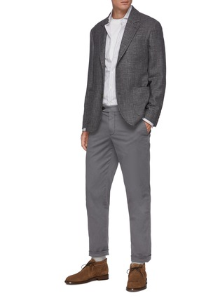 Figure View - Click To Enlarge - BRUNELLO CUCINELLI - Slim fit tailored cotton pants