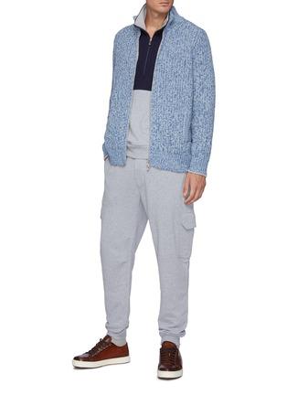Figure View - Click To Enlarge - BRUNELLO CUCINELLI - Half Zip Colourblock Cotton Sweatshirt