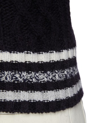 - BRUNELLO CUCINELLI - Striped Ribbed Cable Knit Wool Sweatshirt
