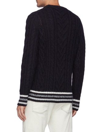 Back View - Click To Enlarge - BRUNELLO CUCINELLI - Striped Ribbed Cable Knit Wool Sweatshirt