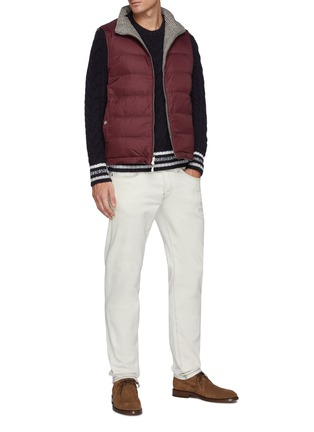 Figure View - Click To Enlarge - BRUNELLO CUCINELLI - Striped Ribbed Cable Knit Wool Sweatshirt