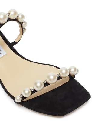 Detail View - Click To Enlarge - JIMMY CHOO - 'Amara 45' pearl strap suede mules