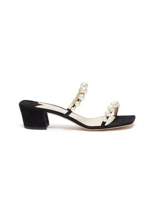 Main View - Click To Enlarge - JIMMY CHOO - 'Amara 45' pearl strap suede mules