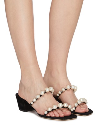 Figure View - Click To Enlarge - JIMMY CHOO - 'Amara 45' pearl strap suede mules