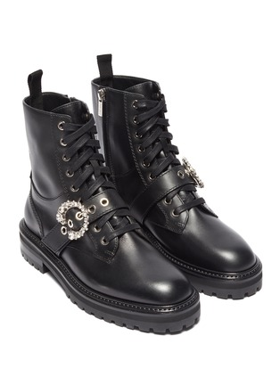 Detail View - Click To Enlarge - JIMMY CHOO -  ''Cora Flat' crystal buckle leather combat boots