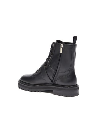 - JIMMY CHOO -  ''Cora Flat' crystal buckle leather combat boots