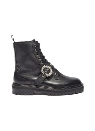 Main View - Click To Enlarge - JIMMY CHOO -  ''Cora Flat' crystal buckle leather combat boots