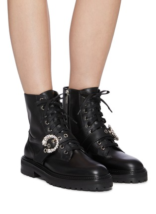 Figure View - Click To Enlarge - JIMMY CHOO -  ''Cora Flat' crystal buckle leather combat boots
