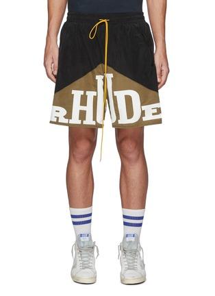 Main View - Click To Enlarge - RHUDE - Yachting' Bicoloured Logo Drawstring Sweat Shorts'