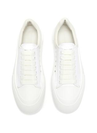 Detail View - Click To Enlarge - ALEXANDER MCQUEEN - Suede Logo Heel Tab Canvas Sneakers