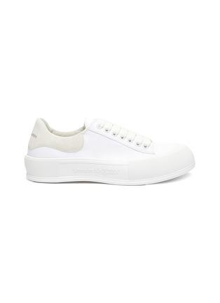 Main View - Click To Enlarge - ALEXANDER MCQUEEN - Suede Logo Heel Tab Canvas Sneakers