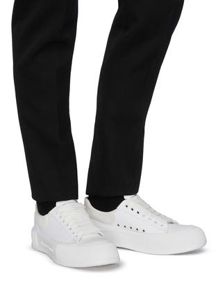 Figure View - Click To Enlarge - ALEXANDER MCQUEEN - Suede Logo Heel Tab Canvas Sneakers