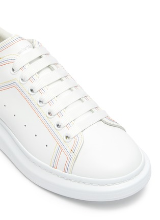 Detail View - Click To Enlarge - ALEXANDER MCQUEEN - 'Larry' Rainbow Stitch Leather Sneakers