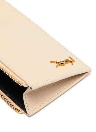 Detail View - Click To Enlarge - SAINT LAURENT - Logo zipped leather card case