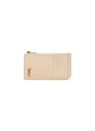 Main View - Click To Enlarge - SAINT LAURENT - Logo zipped leather card case