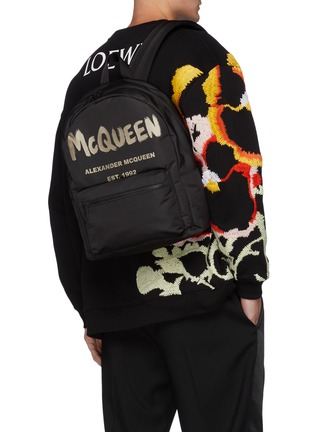 Figure View - Click To Enlarge - ALEXANDER MCQUEEN - Graffiti Logo Print Backpack