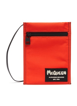 Main View - Click To Enlarge - ALEXANDER MCQUEEN - Logo Embroidered Patch Crossbody Pouch