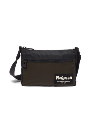 Main View - Click To Enlarge - ALEXANDER MCQUEEN - Logo Embroidered Patch Nylon Phone Pouch