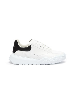 Main View - Click To Enlarge - ALEXANDER MCQUEEN - Leopard Sole Suede Heel Tab Leather Sneakers