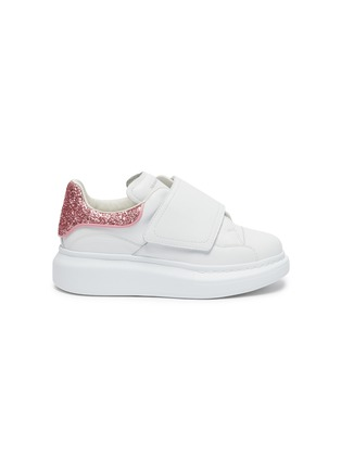 Main View - Click To Enlarge - ALEXANDER MCQUEEN - 'Molly' contrast heel tab velcro oversized sole Todder and Kids sneakers
