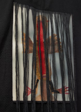 - SONG FOR THE MUTE - Bird Oil Paint Back Panel Fringe Cotton Jacket