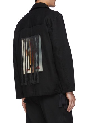 Back View - Click To Enlarge - SONG FOR THE MUTE - Bird Oil Paint Back Panel Fringe Cotton Jacket