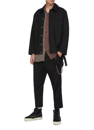 Figure View - Click To Enlarge - SONG FOR THE MUTE - Bird Oil Paint Back Panel Fringe Cotton Jacket