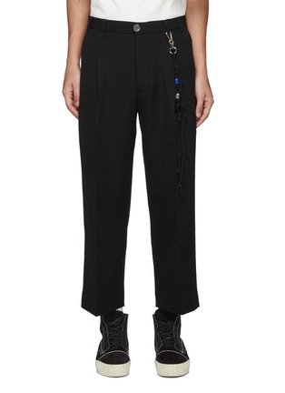Main View - Click To Enlarge - SONG FOR THE MUTE - Centre Pleat Wool Pants with Stone Knot Chain