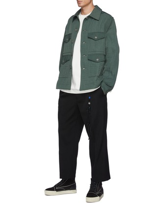 Figure View - Click To Enlarge - SONG FOR THE MUTE - Centre Pleat Wool Pants with Stone Knot Chain
