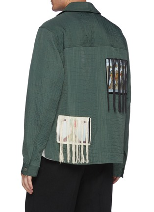 Back View - Click To Enlarge - SONG FOR THE MUTE - Triplets Oil Paint Back Panel Fringe Cotton Jacket