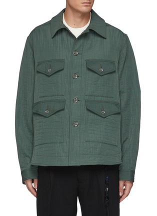 Main View - Click To Enlarge - SONG FOR THE MUTE - Triplets Oil Paint Back Panel Fringe Cotton Jacket