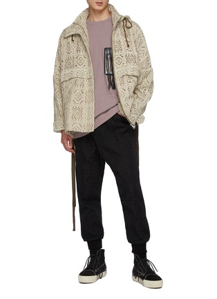 Figure View - Click To Enlarge - SONG FOR THE MUTE - Hooded High Neck Lace Rain Jacket