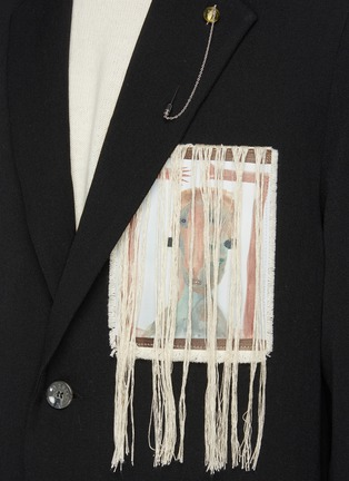 - SONG FOR THE MUTE - Pink Boogeyman' Graphic Patch Fringe Detail Coat