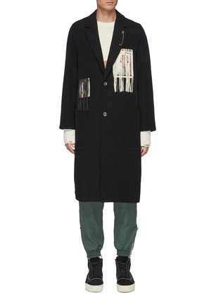 Main View - Click To Enlarge - SONG FOR THE MUTE - Pink Boogeyman' Graphic Patch Fringe Detail Coat