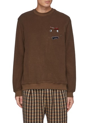 Main View - Click To Enlarge - SONG FOR THE MUTE - Monster Graphic Patch Safety Pin Detail Sweatshirt