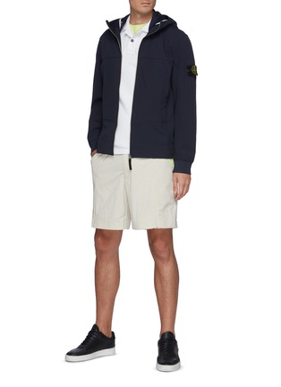 Figure View - Click To Enlarge - STONE ISLAND - Corduroy Front Knit Jacket w/ Contrast Collar & Hem