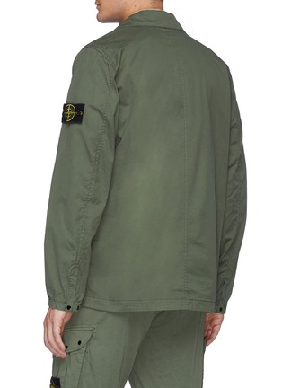 Back View - Click To Enlarge - STONE ISLAND - Double Pocket Front Garment Dyed Cotton Blend Jacket