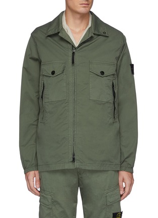 Main View - Click To Enlarge - STONE ISLAND - Double Pocket Front Garment Dyed Cotton Blend Jacket
