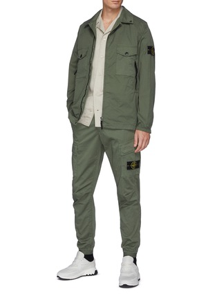 Figure View - Click To Enlarge - STONE ISLAND - Double Pocket Front Garment Dyed Cotton Blend Jacket