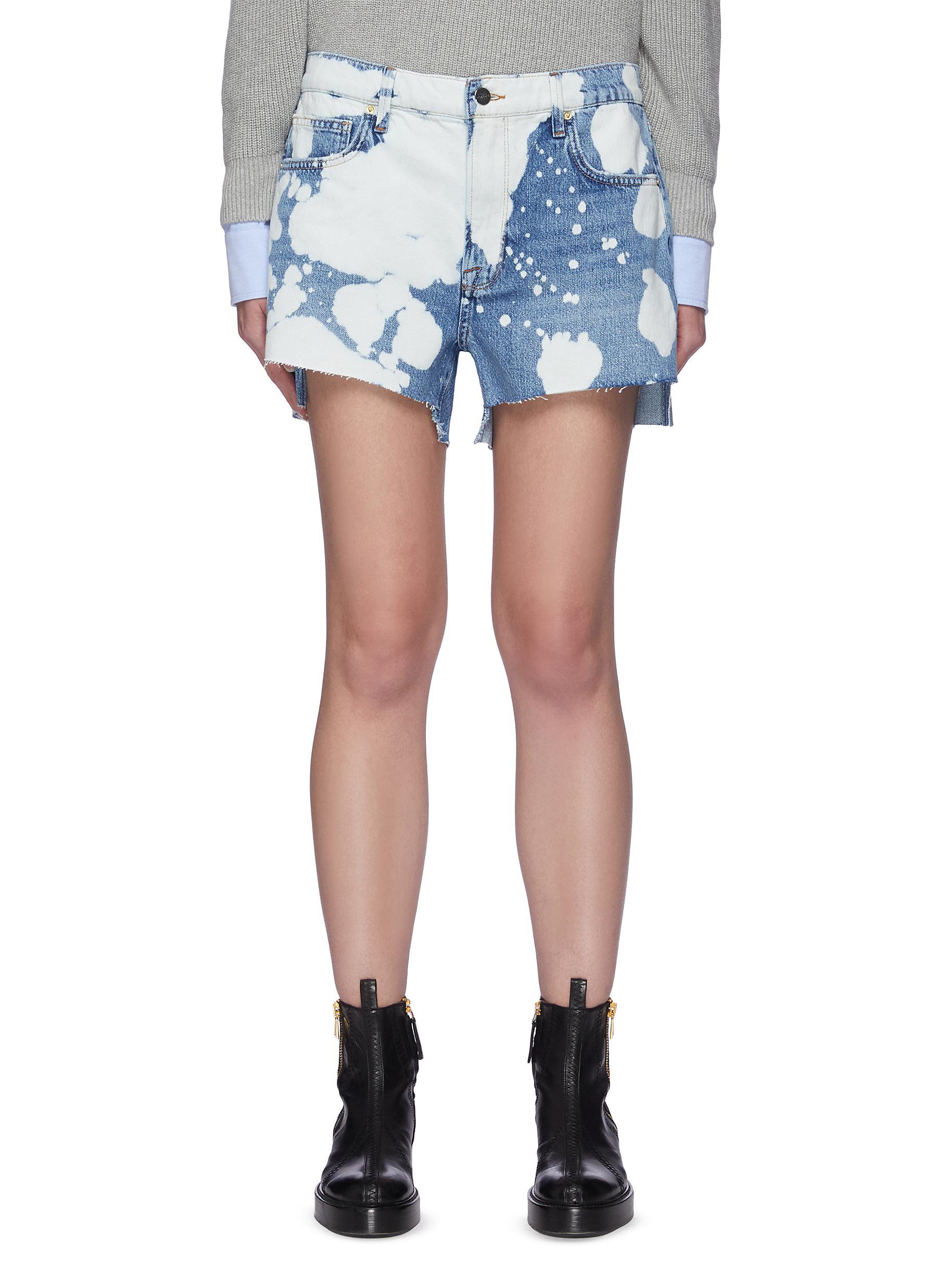 Le Ultra' Paint Splatter Pattern Duo-tone Denim Shorts