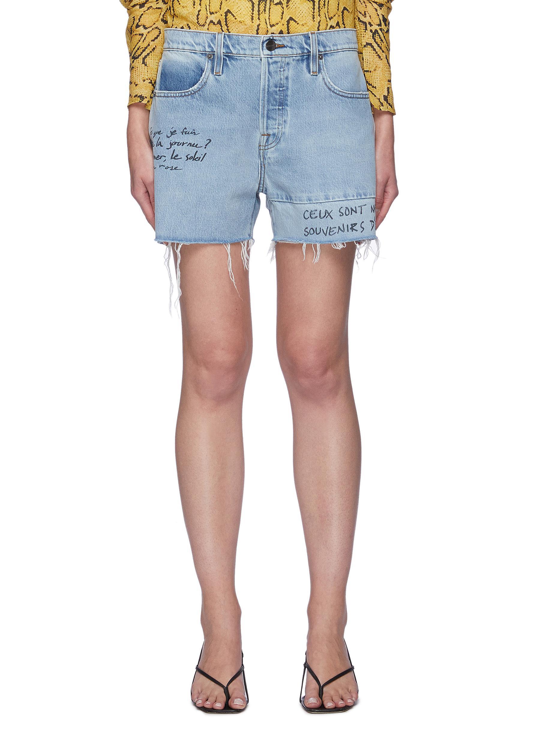 """""Le Slouch' Handwritten Print Frayed Hem Denim Shorts"""