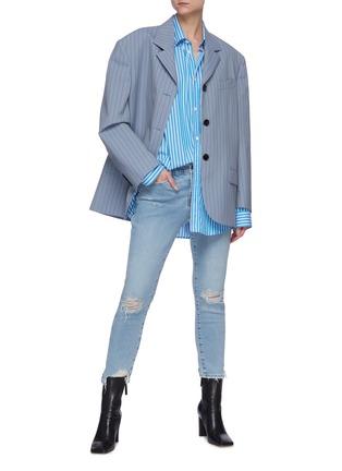 Figure View - Click To Enlarge - FRAME DENIM - Le Garcon' distressed crop skinny jeans