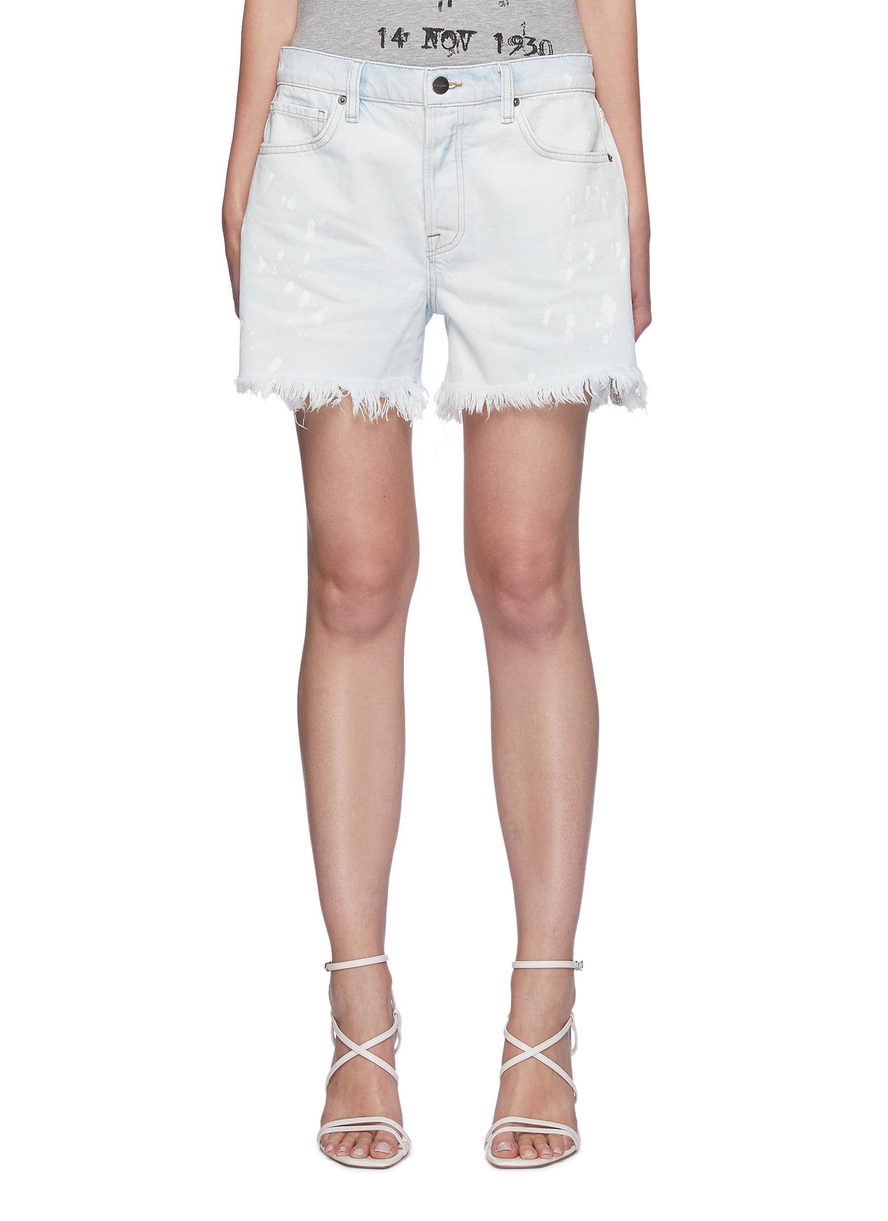 """""Le Slouch' Splash Bleach pattern raw hem shorts"""