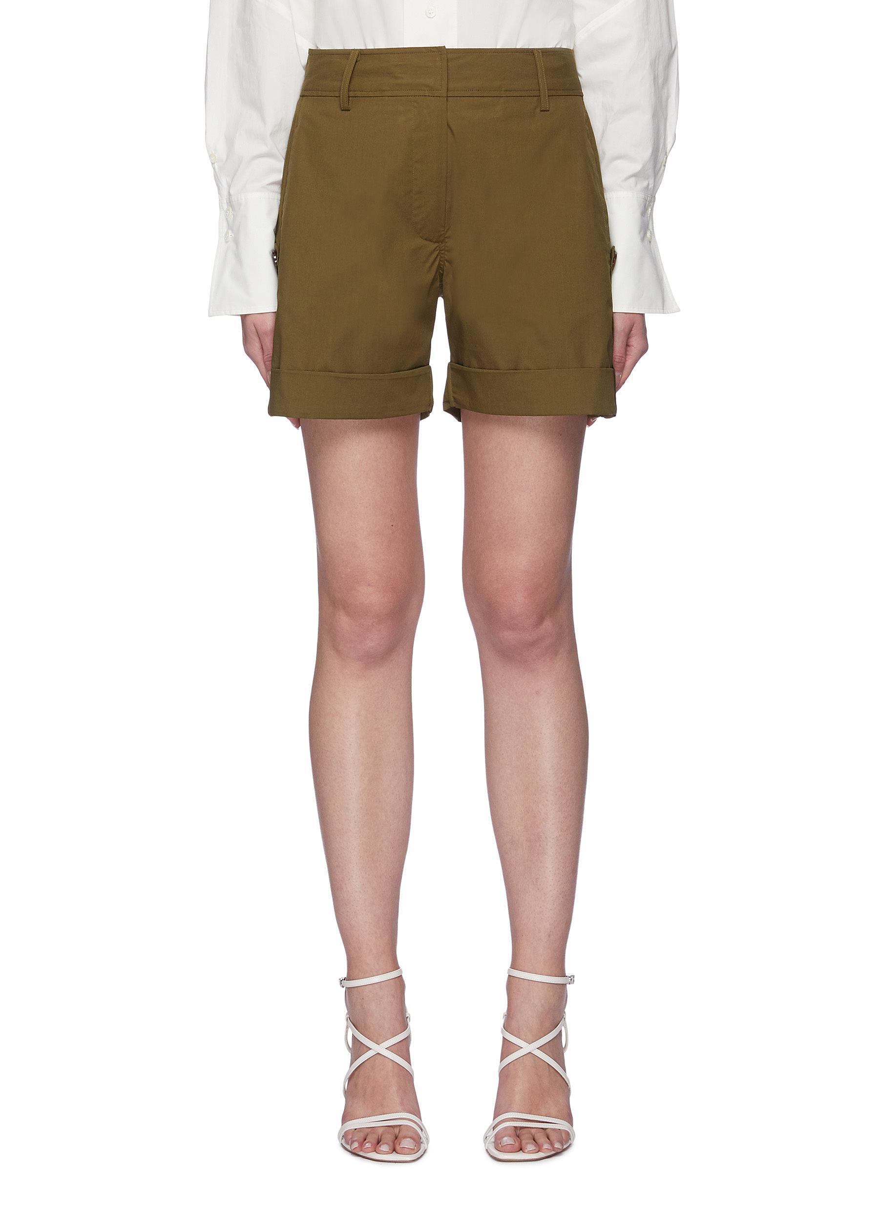Patch Pocket Roll-up Hem Cotton Blend Shorts