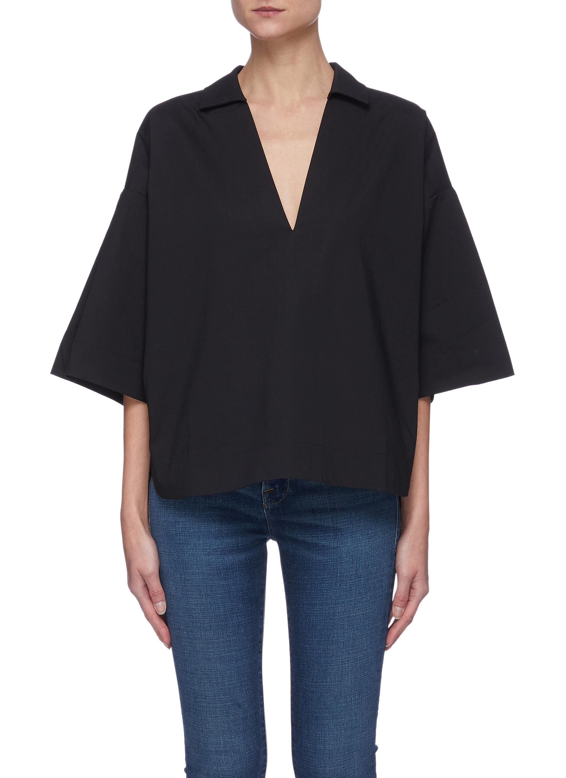 """""""""""Channing' V-neck Spread Collar Cotton Top"""""""